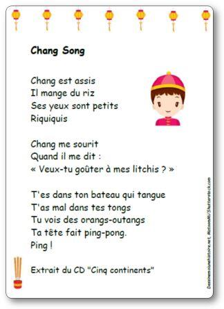 Comptine Chang song Chang est assis CD Cinq continents