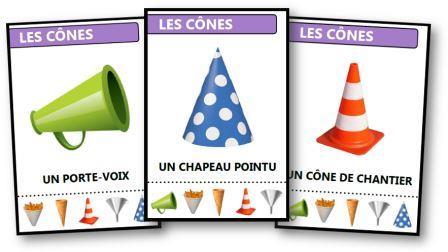 Jeu des sept familles gratuit à imprimer sur les formes géométriques Les cônes