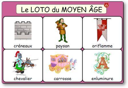 Loto du Moyen Age à imprimer