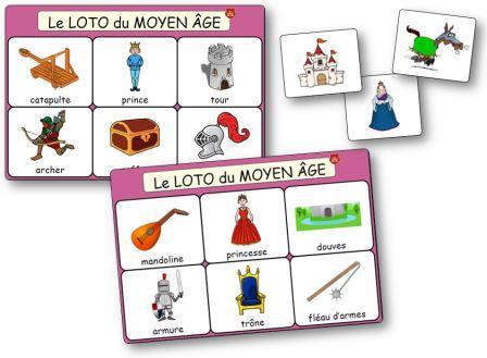 Loto du Moyen Age chevalier princesses et chateau fort