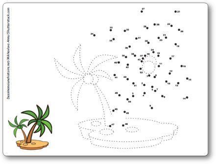 Points à relier île déserte palmiers 1 à 52