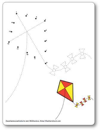 Points à relier Cerf volant 1 à 14
