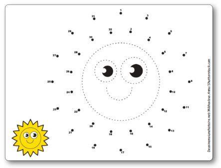 Points à relier Soleil 1 à 32, points à relier vacances