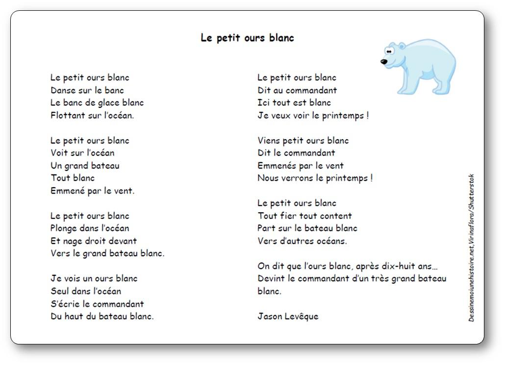 Chanson Le petit ours blanc de Jason Levêque, chanson petit ours blanc