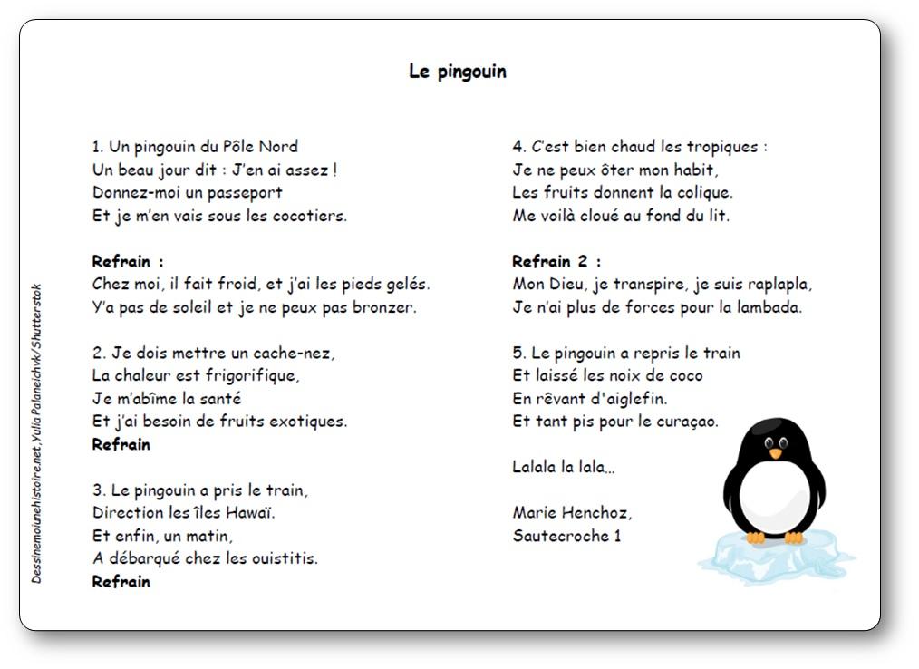 Comptine Le pingouin de Marie Henchoz, pingouin du Pôle Nord, le pingouin marie Henchoz