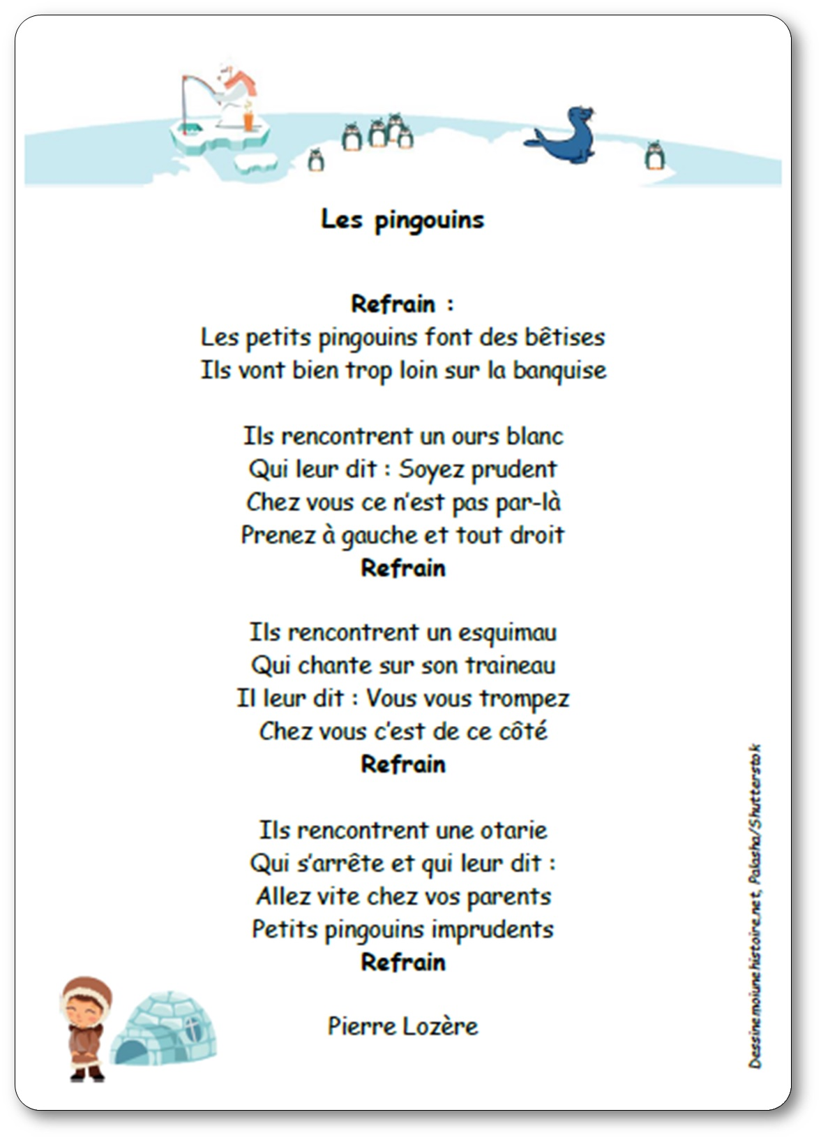 Chanson les pingouins de Pierre Lozère, les petits pingouins font des bêtises, chanson pingouin banquise