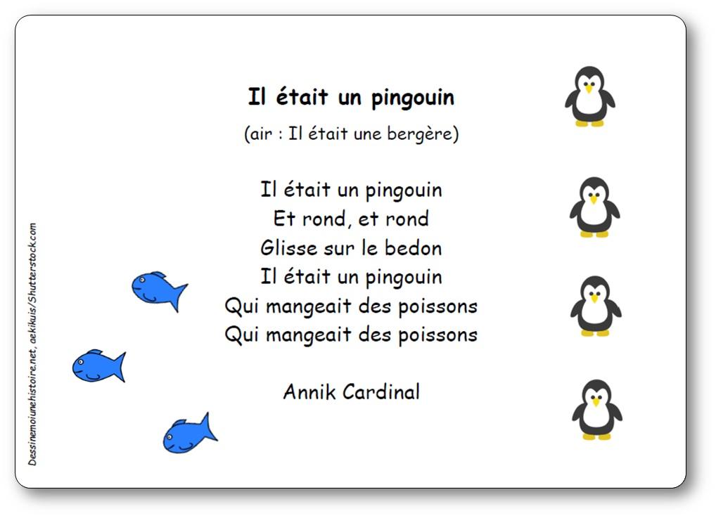 Comptine Il était un pingouin d'Annik Cardinal, comptine pingouins