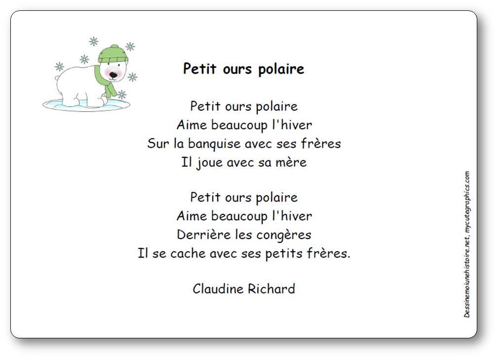 Comptine Petit ours polaire de Claudine Richard