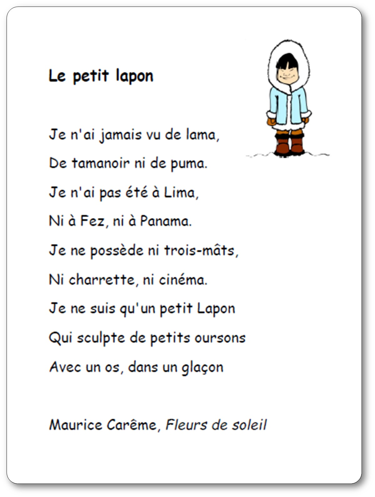 Poésie Le petit lapon de Maurice Carême