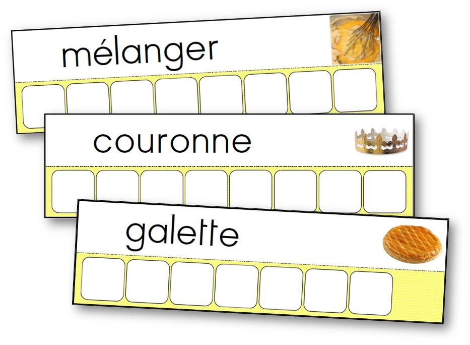 Atelier des mots de la recette de la galette des rois, écriture galette des rois