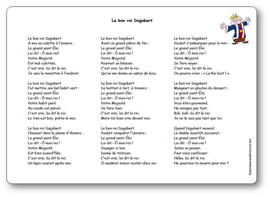 Chanson Le Bon Roi Dagobert Paroles Illustrees Le Bon Roi Dagobert