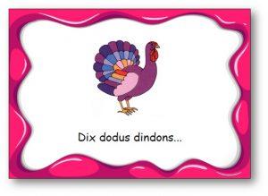 "virelangue ""Dix dodus dindons"""