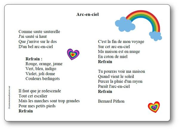 Arc-en-ciel Bernard Pithon, chanson arc en ciel