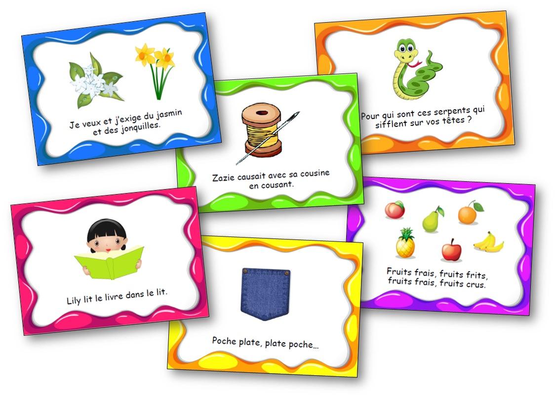 Cartes de virelangue maternelle