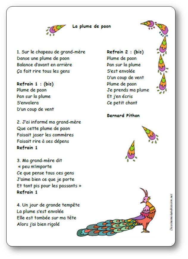 Chanson La plume de paon de Bernard Pithon