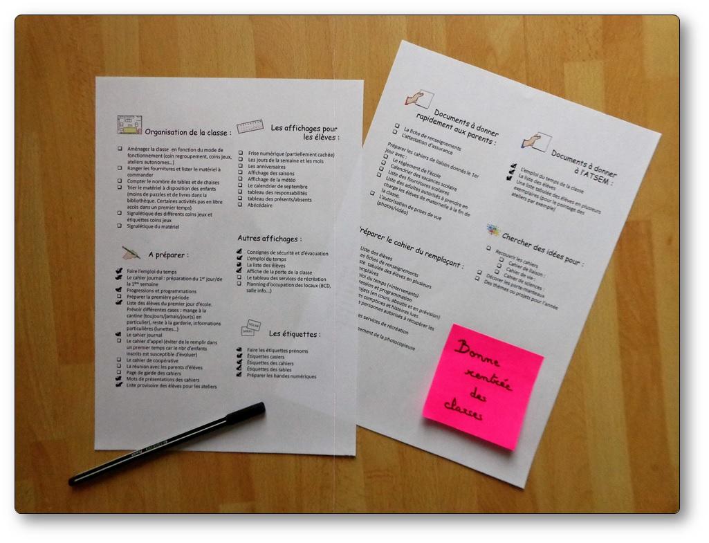 Liste des choses à faire pour bien réussir sa rentrée scolaire quand on est enseignant en maternelle, liste de choses à faire avant la rentrée