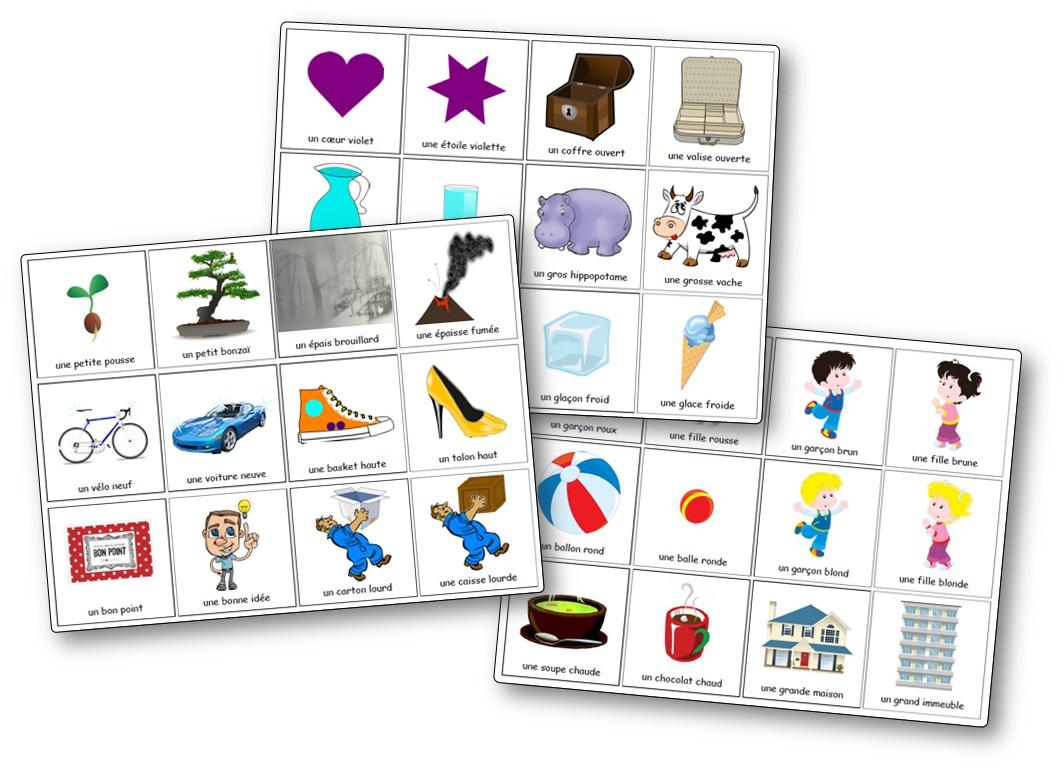 Mémory des adjectifs féminins et masculins, jeu adjectifs féminin masculin