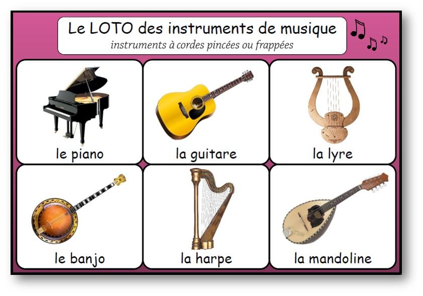 les instruments à cordes pincées ou frappées, Loto instruments de musique