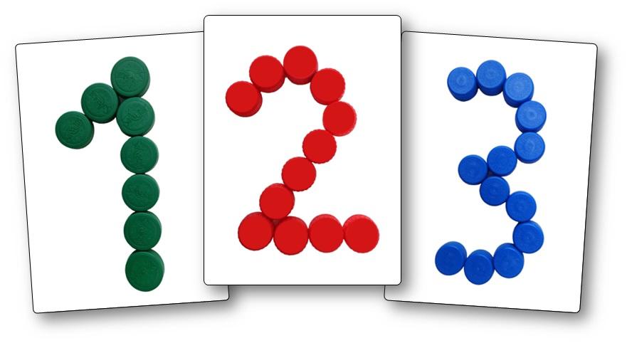 Modèles chiffres avec des bouchons en plastique