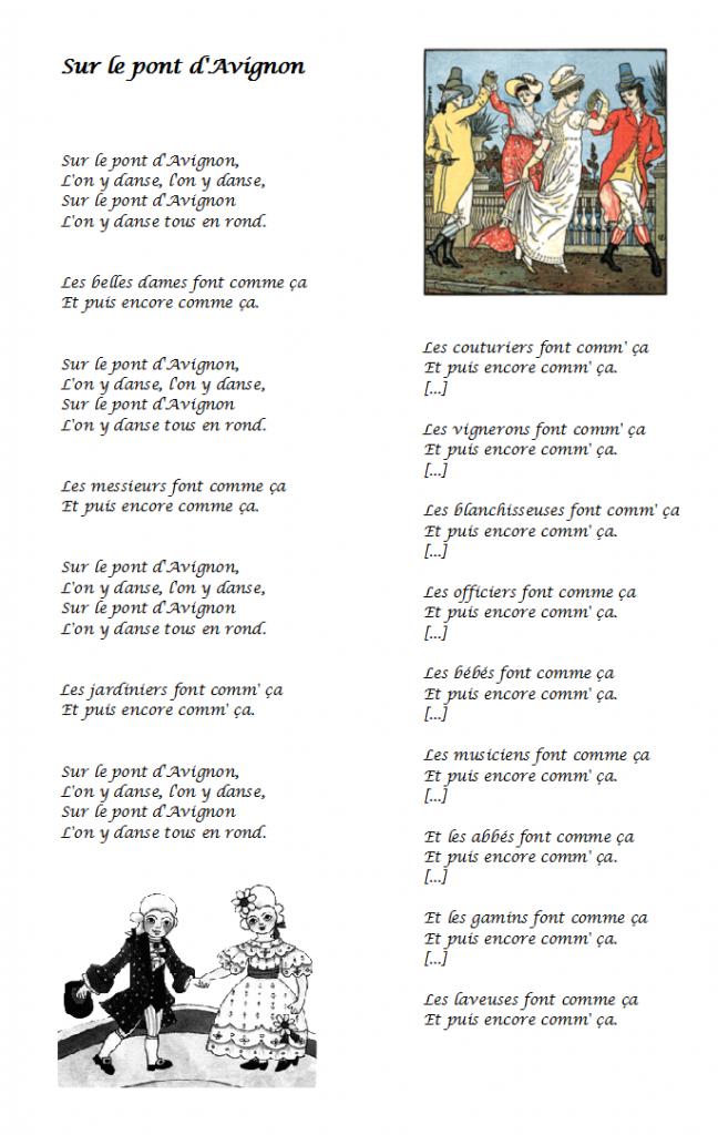 chanson sur le pont d'avignon, sur le pont d'avignon paroles à imprimer