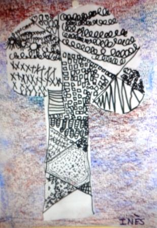 Arbre et graphisme décoratif et fond pastel