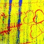 Diverses empreintes sur fond fluo