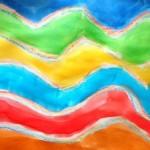 Vagues au pastel multicolore encre mélangée à du medium irisé