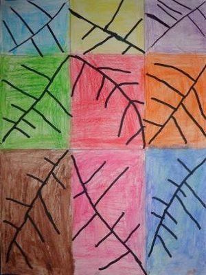 Carrés et rectangles coloriés + empreintes de feuille au feutre noir