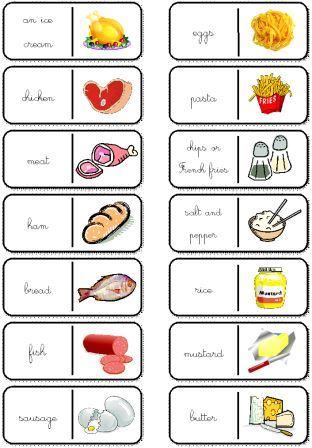 image dominos en anglais nourriture