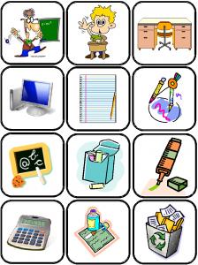 image flashcards matériel de la classe