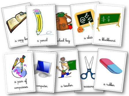 Flashcards Matériel de classe anglais