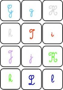 image jeu de mémory couleur des lettres cursives majuscules à associer aux cursives minuscules