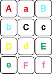 image jeu de mémory couleur des lettres majuscules à associer aux minuscules