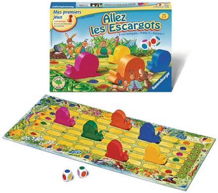 Allez les escargots de Ravensburger, jeu sur les couleurs