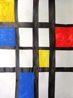 Piet Mondrian Bleu jaune rouge production d'élève