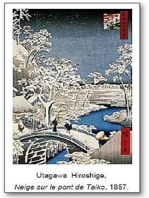 Hiroshige Neige sur le pont de Taiko