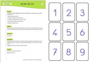 jeu mathématiques le jeu du 11, Jeux mathématiques maternelle