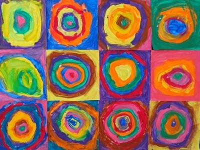 Vasssily Kandinsky Cercles concentriques production d'élève