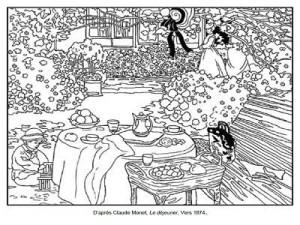 Coloriage Claude Monet Le déjeuner