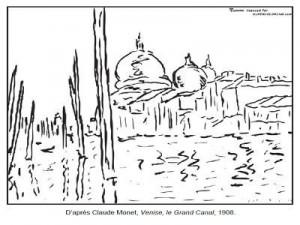 Coloriage Claude Monet Venise le Grand Canal