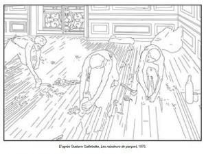 Coloriage Gustave Caillebotte Les raboteurs de parquet