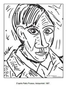 Coloriage Pablo Picasso Autoportrait
