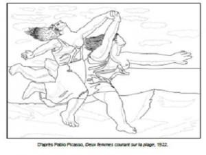 Coloriage Pablo Picasso Deux femmes courant sur la plage