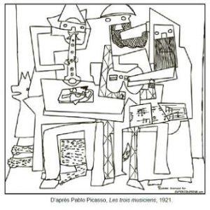 Coloriage Pablo Picasso Les trois musiciens