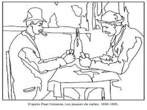 Coloriage Paul Cézanne Les joueurs de cartes 1890-1895