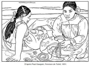Coloriage Paul Gauguin Femmes de Tahiti