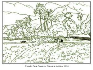 Coloriage Paul Gauguin Paysage tahitien