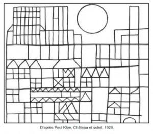 Coloriage Paul Klee Château et soleil