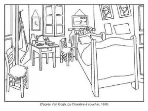 Coloriage Van Gogh La chambre à coucher
