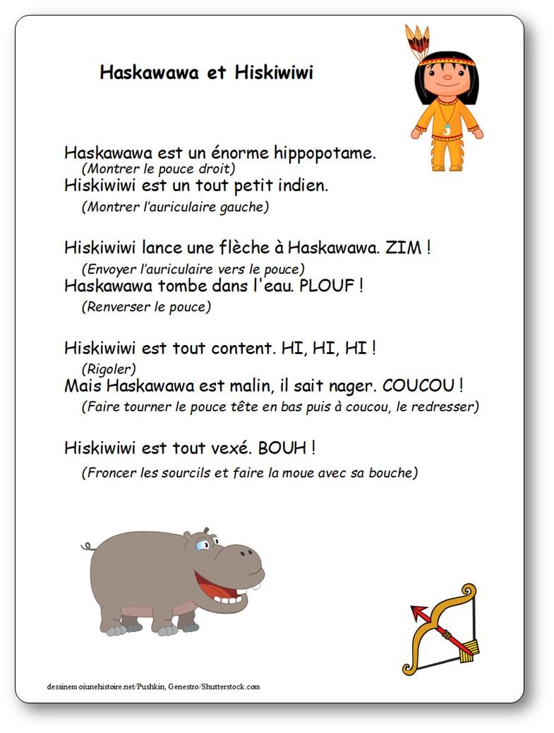 Comptine Haskawawa et Hiskiwiwi, paroles illustrées à imprimer